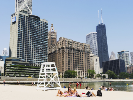 chicagos sandy beach and w hotel