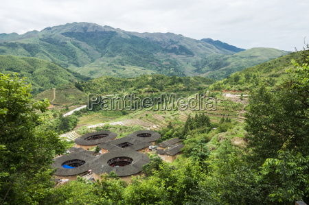 landscape of tulou buildings in a