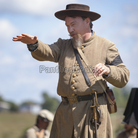 re enactor speaking to a group