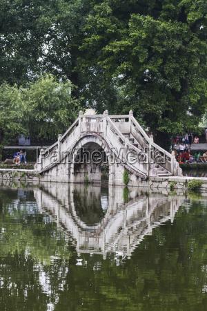 stone bridge over nanhu lake hongcun