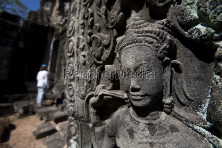 tourist outside temple in ancient city