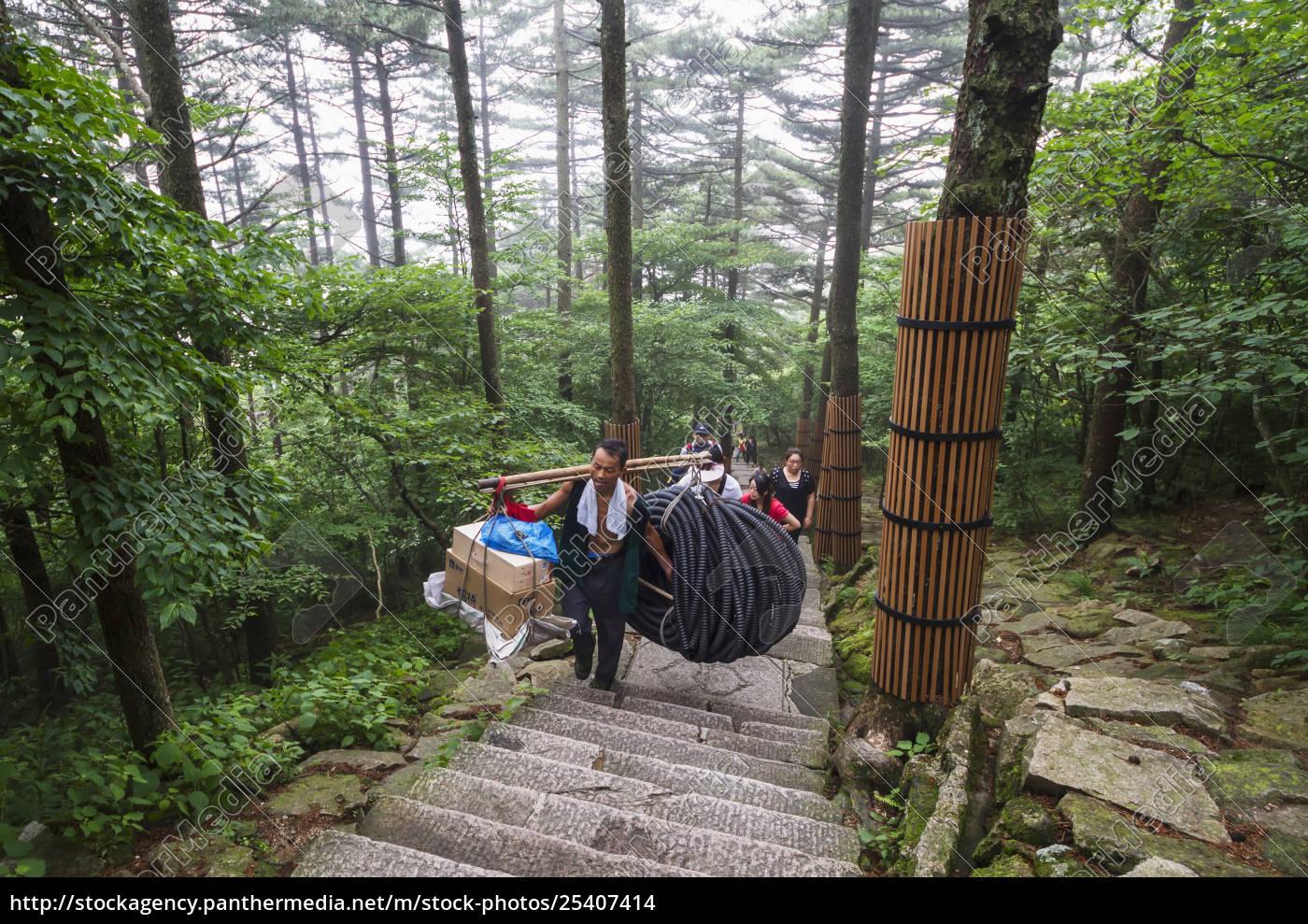 porter, carrying, items, mount, huangshan, anhui, china - 25407414