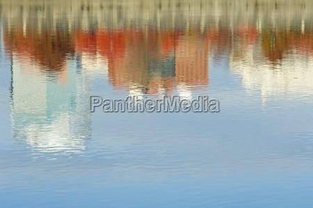 reflection of buildings in willamette river
