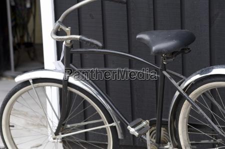 muskokas ontario canadavintage bicycle resting against