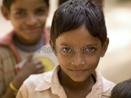portrait of two smiling boys rajasthan