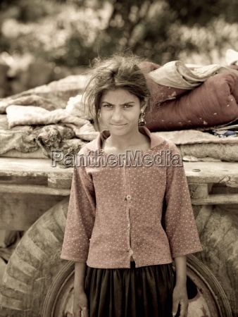 portrait of young indian gypsy girl