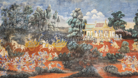 fresco depicting scenes from the ramayana
