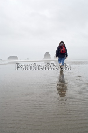 hiker at second beach in olympic