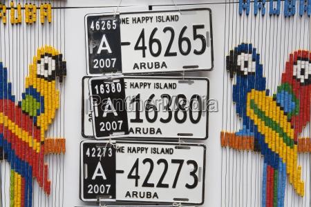 aruban nummernschilder oranjestad insel von aruba