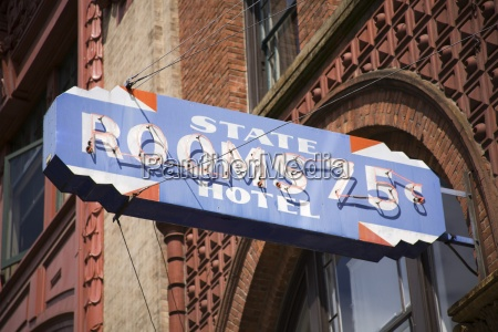 historic hotel sign in pioneer square