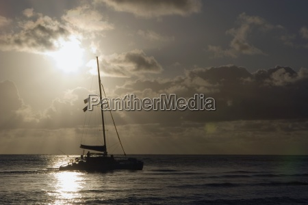 catamaran on the pacific at sunset