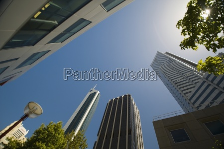 a low angle view of skyscrapers