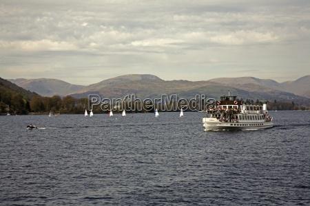 windermere cumbria england a steamer boat