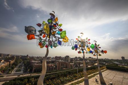 three glassinators sculpture by andrew carson