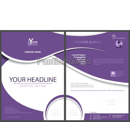 flyer template with abstract violet shapes