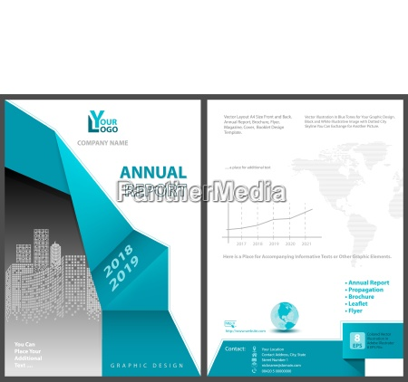 annual report template with abstract geometric