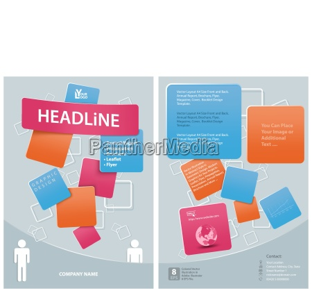 template for flyer with squared decoration