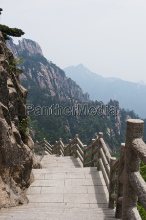 stairway on huang shan yellow mountain