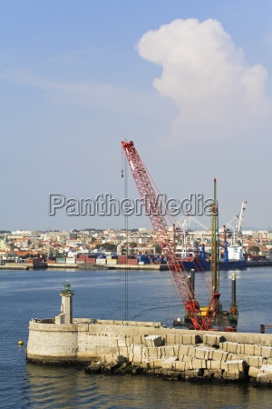 breakwater construction and lighthouse port of