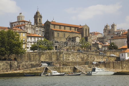 old architecture on waterfront of the
