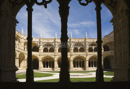 courtyard at jeronimos monastery lisbon portugal