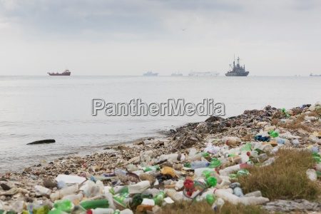 garbage on the beach after the