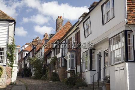tudor style houses on a cobbled