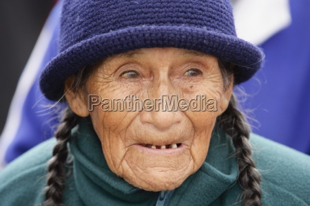 portrait of toothless senior woman lima