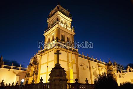 metropolitan cathedral at night sucre chuquisaca
