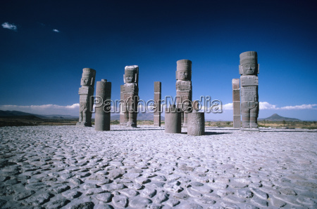 mexico toltec ruins large stone statues