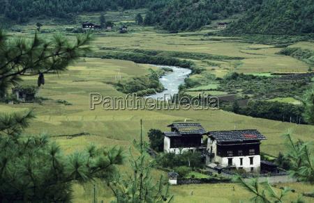 bhutan river winding through farmland and