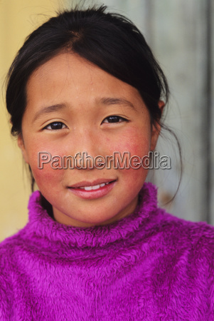 mongolia young local woman in purple