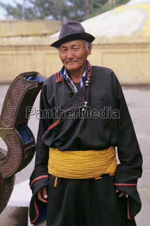 mongolia local senior man wearing traditional