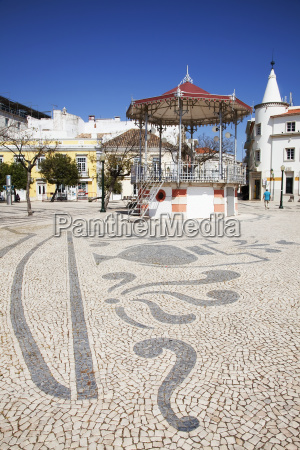 designs in the tiled ground in
