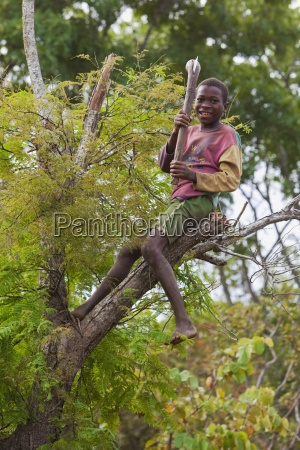 a boy sits up high on