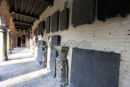engraved stones in the courtyard of