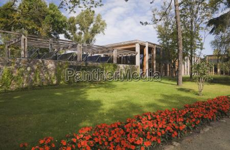 modern glass wood and stone pavilion
