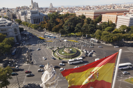 looking across plaza de la cibeles