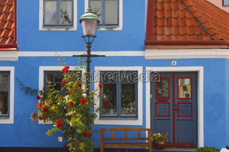 blue house in the old town