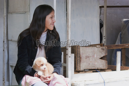 girl with a puppy sucre chuquisaca