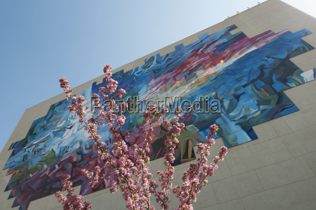 colourful abstract mural on the side