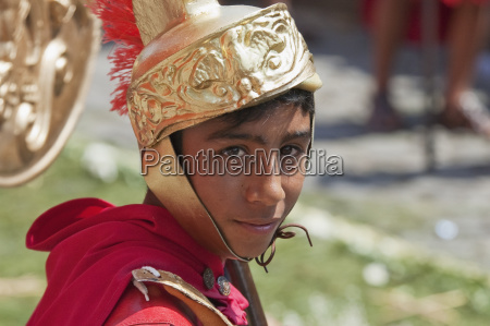 boy dressed as a roman soldier