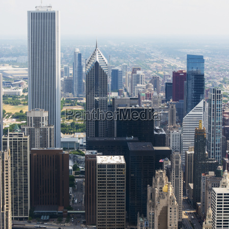 high angle view of skyscrapers chicago