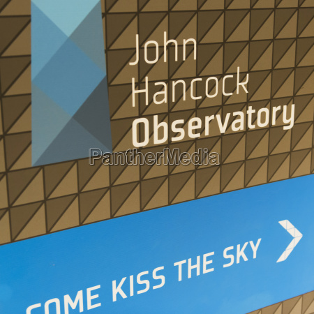 sign for the john hancock observatory