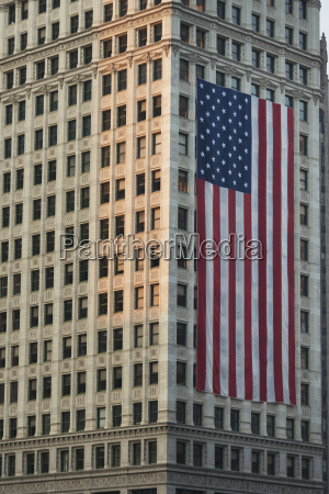 large american flag hanging on the