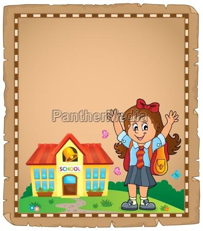 happy pupil girl thema pergament 1