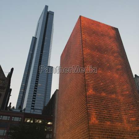 low angle view of skyscrapers bronze