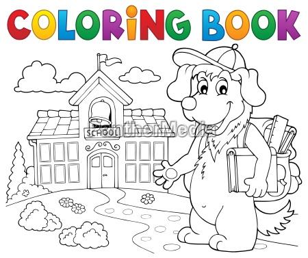 coloring book school dog theme 2