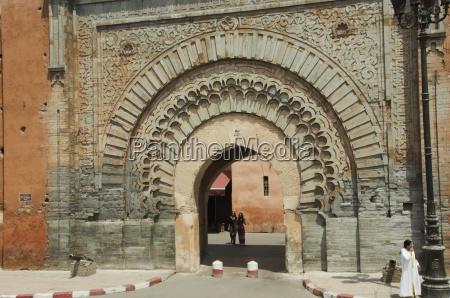 morocco marrakech medina pedestrians and ornate