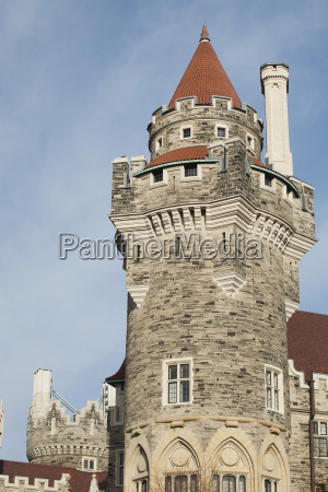 castle tower with blue sky and